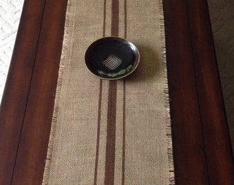 Extra Long Burlap Grain Sack Table Runner 12 Or 14 X 132 Or 144 Rustic  Farmhouse