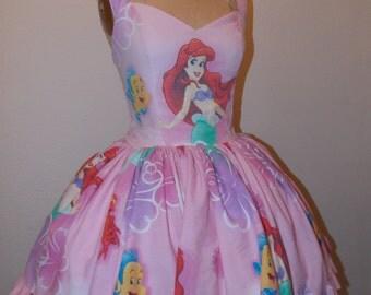 Custom Made to order Ariel The Little Mermaid SweetHeart Ruffled Mini Dress
