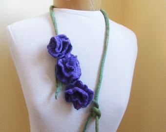Purple  Felted  flowers Merino wool necklace  OOAK ,