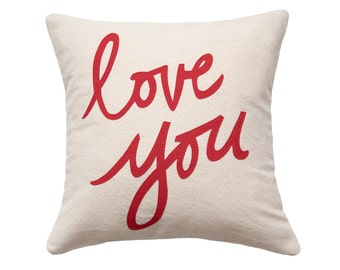 SALE Love You Pillow, Oatmeal and Red, Organic Cotton