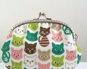 Free Shipping - Medium Coin Purse Colourful Kitten