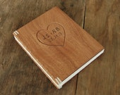 carved wedding guest book mahogany wood covers wood book anniversary gift rustic  - personalized cream natural unique  - made to order