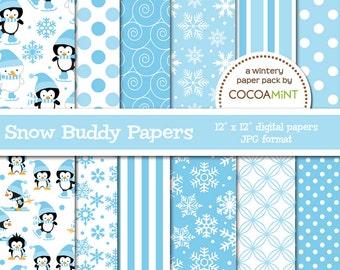 Blue Snow Buddies Digital Paper Pack