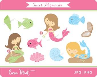 Sweet Mermaids Clip Art