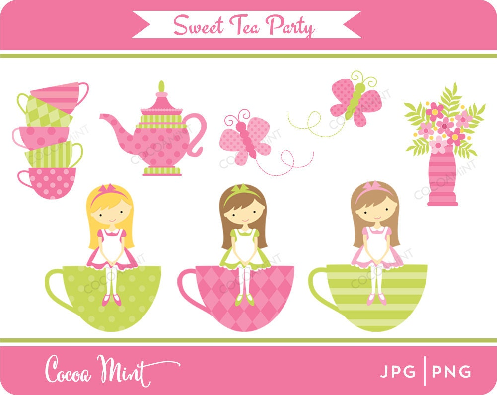Clip Art Tea Party Clip Art tea party clipart etsy sweet clip art