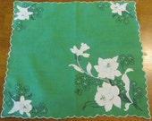 Vintage Emerald Green with White Daffodils and  Black detail  hanky handkerchief- vintage handkerchief, vintage hanky,hanky, floral hanky