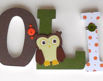 """Set of 5 Decorated 6"""" Wooden Letters, Personalized Nursery Name Décor, Bedroom, Hanging Wood Wall Decorations, Birthday Baby Shower Gift"""