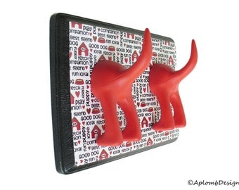 Dog Leash Holder  - Double Tail - Best Friend  - Personalize with Optional Letter Tiles