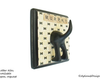 Dog Tail Leash Holder  - Bow Tie Bones - with Optional Letter Tiles