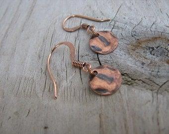 Antique Copper Earrings- Wavy Small Coin- Darkened- Dainty Earrings