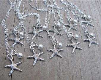 Bridesmaids Necklaces- Silver Starfish Necklaces- with pearl accent- set of 10