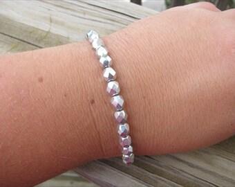 Layering Bracelet- Metallic Silver Beaded Bracelet