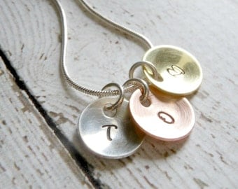 Personalized Tri Colored Initial Charm Necklace - Hand Stamped with the Initials of your Choice