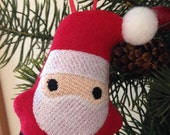 Embroidered Stuffed Santa Gnome Ornament