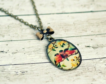 bird pendant, brass pendant, vintage look, gifts for women, colorful jewelry