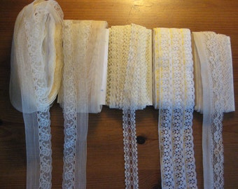 65 + Yards Vintage Lace, Yellow, Beige