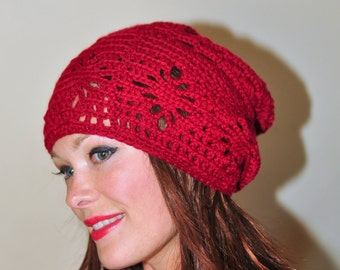 Slouchy Women Hat Valentine's Day gift Crochet Hat Women Hat Slouchy Beanie Hat Red Cherry Burgundy Crochet Fall Autumn Gift