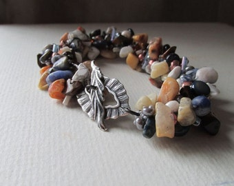Crocheted Natural Stones Bracelet - Jasper - Earth Sea and Sky