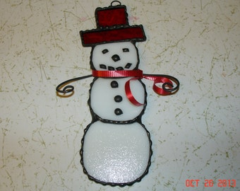Stained Glass Snowman Suncatcher / Ornament