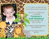 Safari Birthday Invitation/Jungle Animals/zoo animals/invitation/invite/boy/jungle birthday invitation/diy/printable/custom/photo