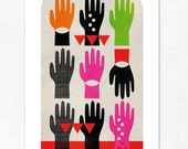 People 02. ( hand, colorful & black). Geometric large print (A3). (Special SPRING  offer: Get a poster for free)
