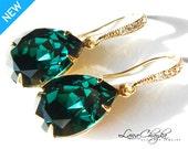 Emerald Green Crystal Earrings Vermeil Gold CZ Emerald Earrings Swarovski Rhinestone Emerald Earrings Wedding Gold Green Teardrop Earrings
