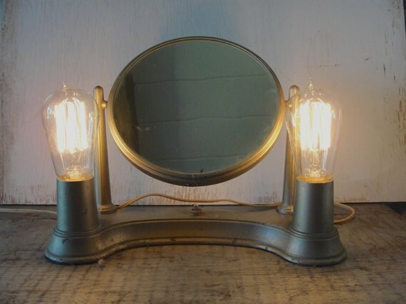 Vintage Vanity Mirror With Lights : Vintage light industrial style portable vanity light with
