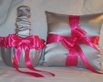 Silver Satin With Fuchsia Ribbon Trim Flower Girl Basket And Ring Bearer Pillow Set 2