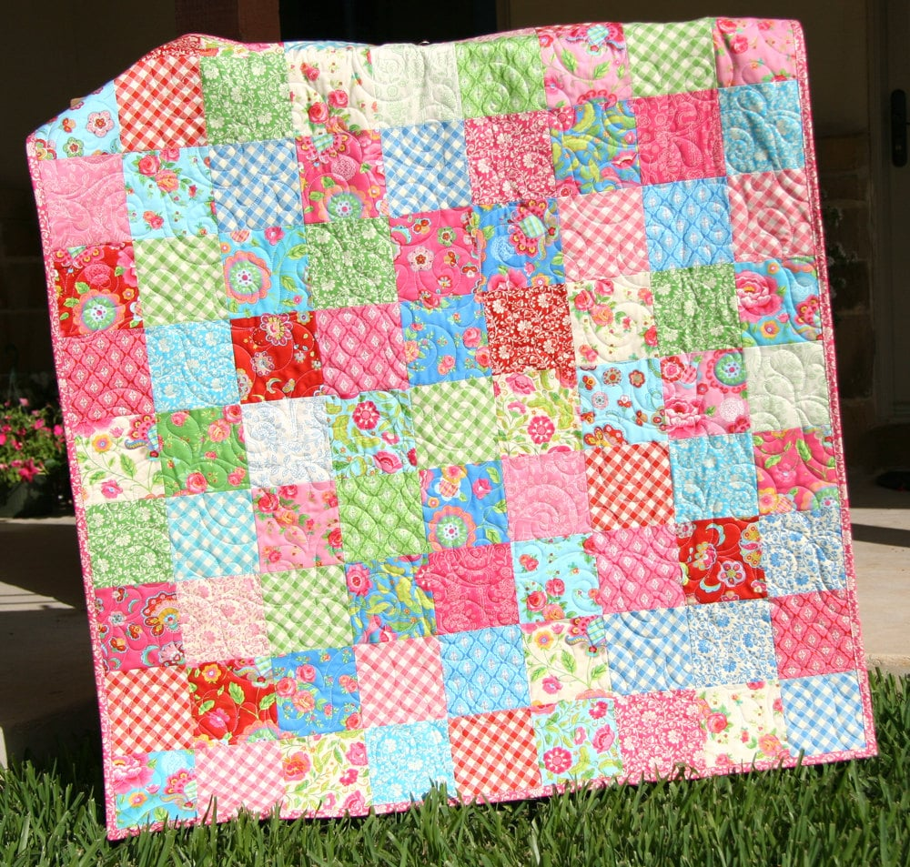 Gypsy Girl Baby Quilt Patchwork Pink Blue By Sunnysidedesigns2