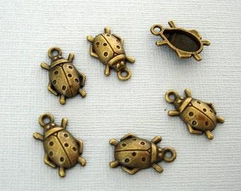 10-Ladybug Tibetan Style Charm Pendant  Antiqued Bronze 17.5x 11x 3.5mm