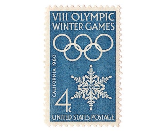 Set of 10 Winter Olympic stamps to add to your holiday cards or letters with snowflake