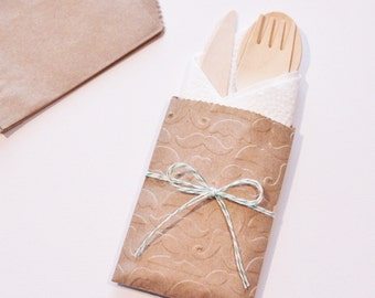 Table Settings Wedding 10 Mustache Flatware Bags Wooden Utensils Cutlery Rustic Birthday Party Baby Bridal Shower Favors Paper Goods