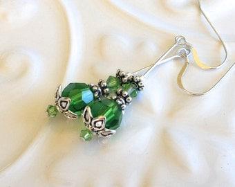 Long Fern Green Crystal Earrings in Silver