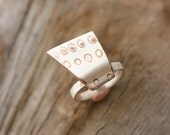 Contemporary Silver Ring, Size 7 Silver Ring, Modern Silver Ring, Copper Silver Ring, Mokume Silver Ring, Silver Statement Ring