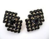 Vintage Black Rhinestone Earrings