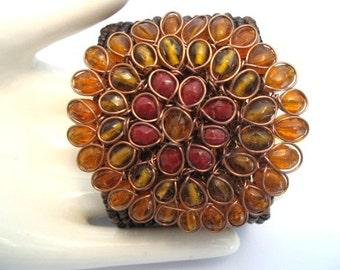 Vintage Boho Cuff Bracelet - Art Glass Wire Beaded Wrap Bracelet
