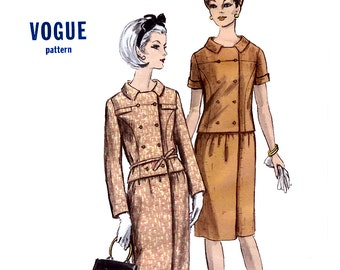 Vogue 6423 Vintage 60s Misses' Two Piece Dress Sewing Pattern - Uncut - Size 14 - Bust 34