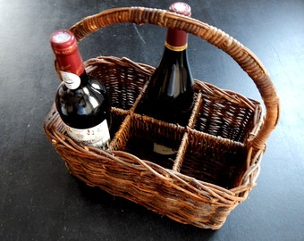 French Vintage 6 Bottle Wine Carrier in Woven Wicker
