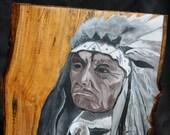 "Crazy Thunder Oglala ""Tetan Sioux""  Painting on Hemlock wood"