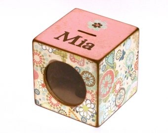 Girls Coin Bank Box Wood Piggy Bank with See-Thru Window for kids - Pink Hearts and Flowers - Personalized