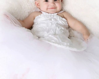 Beautiful 3d Rose Flower Girl Dress 6 to 12 months