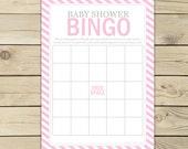 Pink Baby Shower Bingo Game Printable - Instant Download - Girl Baby Shower Bingo Cards - Girl Baby Shower Games - Baby Shower Activities
