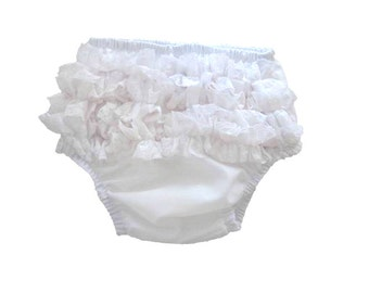 Ruffled Diaper Cover, White Ruffled Bloomers for Baby Girl, Baby Clothes