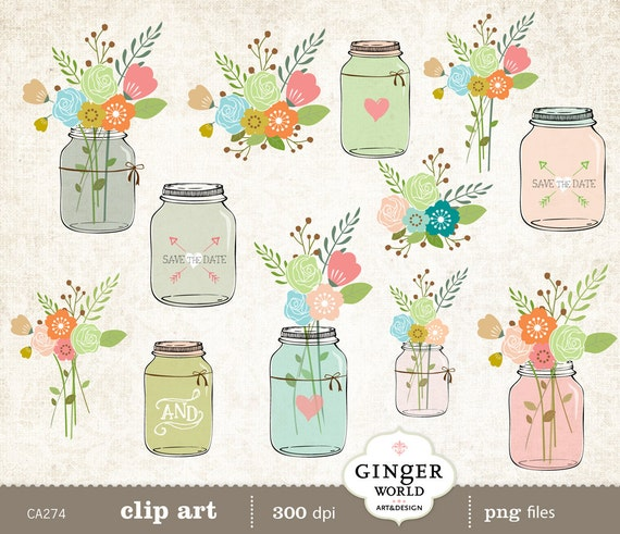 Wedding Flowers In Mason Jars: Items Similar To Mason Jar Clip Art, Rustic Wedding