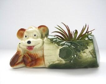 Vintage Ceramic Bear Log Planter Copley Bisque Woodland Children Decor