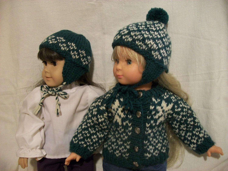 Knitting Pattern Dolls Hat : 18 inch Doll Knitting Pattern Scandinavian Cardigan and Hat