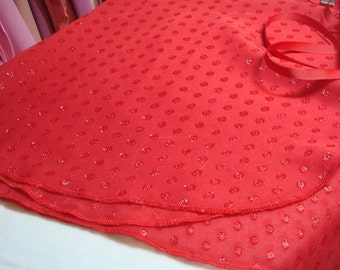 "13"" Adult, Red Glitter Dot Chiffon Ballet Wrap Skirt"