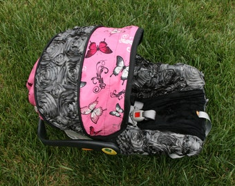 chicco butterfly infant car seat cover with beautiful gray 3d roses ready to ship cover ships. Black Bedroom Furniture Sets. Home Design Ideas