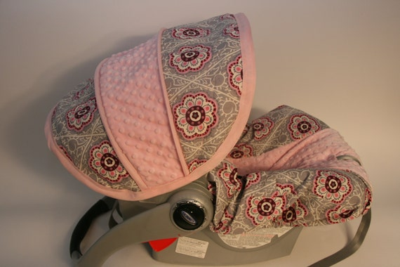 Floral on gray background with light pink minky- Infant car seat cover- Custom Order Always comes with free strap covers