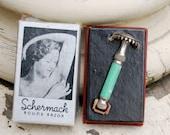 Vintage Schermack Round Razor w/Teal Handle
